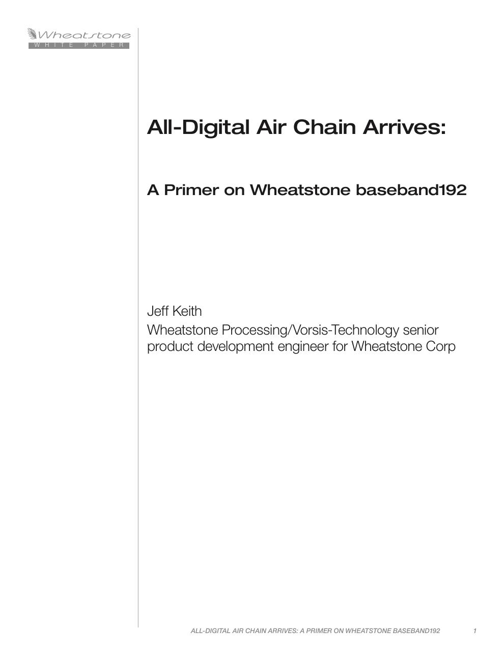 Wheatstone Baseband 192 White Paper